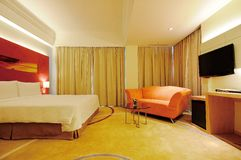 Hotel room. Modern style of the decoration of the hotel rooms Royalty Free Stock Images