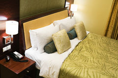 Hotel room. High angle view of a hotel bed Royalty Free Stock Images
