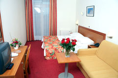 Hotel room. Interier of the hotel room with bed Royalty Free Stock Images