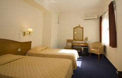 Hotel room athens. Typical mid-price budget hotel room in athens greece Stock Image