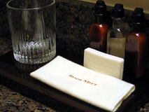 Hotel Room Bathroom Amenities. This is a close up image of the amenities in a hotel room bathroom royalty free stock photos
