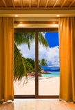 Hotel room and beach landscape Stock Photography