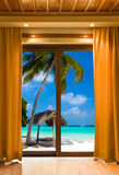 Hotel room and beach landscape Royalty Free Stock Images