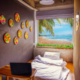 Hotel room and beach landscape - vacation  background Royalty Free Stock Photography