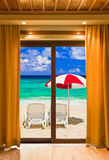 Hotel room and beach landscape Royalty Free Stock Photography