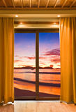 Hotel room and beach landscape Stock Photo