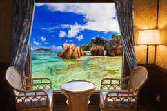 Hotel room and beach landscape Royalty Free Stock Photo