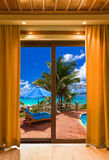 Hotel room and beach landscape Royalty Free Stock Image
