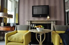 Hotel room. Beautiful hotel room in London Royalty Free Stock Images