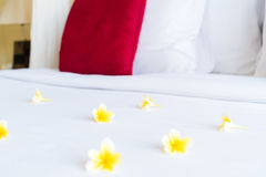 Hotel room with bed and flower arrangement Stock Photos