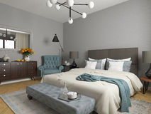 Hotel room, bedroom interior, modern room Stock Photo