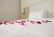 Hotel room with big bed Royalty Free Stock Photo