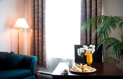 Hotel room breakfast Stock Photos