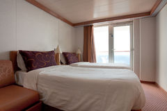 Hotel room on cruise liner - two bed room Royalty Free Stock Photography