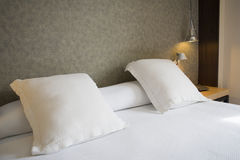 Hotel_room_detail. A hotel room, with bed area featured Stock Images