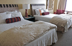Hotel Room with Double Beds. A deluxe hotel room with two double beds and comfy bed linens Stock Image