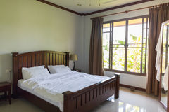 Hotel Room Empty Bedroom Interior Window Tropical Forest View Stock Photos