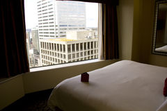 Hotel room with great city views Royalty Free Stock Photo
