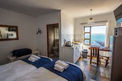 Hotel room interior at The Cormorant House in Luderitz, Namibia stock image