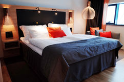 Hotel Room. The interior of a hotel room, with a king size bed Royalty Free Stock Photos
