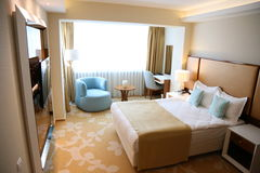 Hotel room. Interior with modern furnishings and clean Stock Image