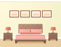 Hotel room interior. Vector illustration. Hotel room or bedroom interior in flat style. Vector illustration Stock Photo