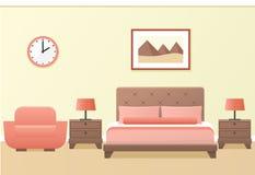 Hotel room interior. Vector illustration. Hotel room or bedroom interior in flat style. Vector illustration Stock Image