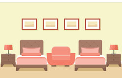 Hotel room interior. Vector illustration. The interior of cozy hotel room with two beds and armchair in flat style. Vector illustration Stock Images