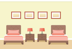 Hotel room interior. Vector illustration. The interior of cozy hotel room with two beds in flat style. Vector illustration stock illustration