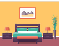 Hotel room interior. Vector illustration. Interior of a hotel room in flat style. Bedroom design. Vector illustration Royalty Free Stock Images