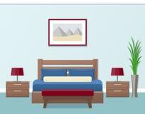Hotel room interior. Vector illustration. Hotel room interior in flat style. Modern bedroom design. Vector illustration Stock Photo