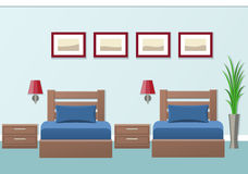 Hotel room interior. Vector illustration. Hotel room interior with two beds in flat style. Modern bedroom design. Vector illustration Stock Photo