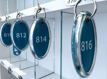Hotel room keys at reception desk counter Royalty Free Stock Photo