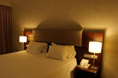 Hotel room with king size bed Stock Photo