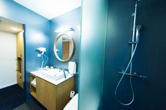 Hotel room in modern bathroom Royalty Free Stock Photography