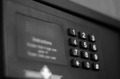 Hotel room safes keypad Royalty Free Stock Images