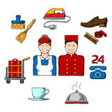 Hotel and room service sketch icons Royalty Free Stock Image