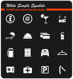 Hotel room services icon set. Hotel room services  icons for user interface design Royalty Free Stock Photography