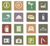 Hotel room services icon set. Hotel room services  icons for user interface design Stock Photos