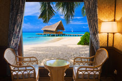Hotel room and tropical landscape Royalty Free Stock Photography