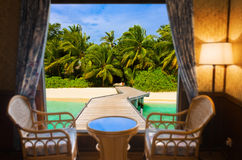 Hotel room and tropical landscape Stock Photo