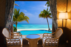 Hotel room and tropical landscape Royalty Free Stock Image