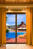 Hotel room and water pool stock photography