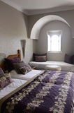 Beautiful Bedroom with Arabic Window, Home Architecture Royalty Free Stock Photography