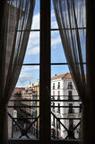 Hotel Room Window in Madrid Stock Photography