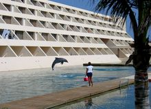 Hotel Rooms. Side of a modern hotel, with a dolphin pool area in the foreground, where a dolphin is in mid-jump in the air, and a trainer is standing with a Stock Photos