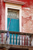 Hotel rooms. External door in balcony a Venezia with written rooms hotel in Venice stock photos