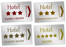 Hotel rooms. Entrance cards to different kinds of hotel rooms Stock Photos