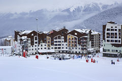 Hotel Rosa Ski Inn in Roza Khutor plateau Stock Images