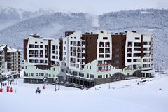 Hotel Rosa Ski Inn in Roza Khutor plateau Royalty Free Stock Photography